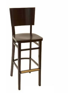 Deco Walnut Wood Commercial Bar Stool with Wood Back and Seat