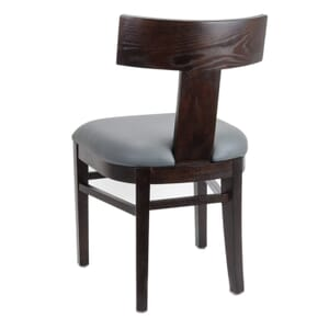 Espresso Brown T-Back Chair with Upholstered Seat
