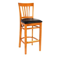 European Beechwood Commercial Bar Stool With Wood Back And Upholstered Seat in Cherry