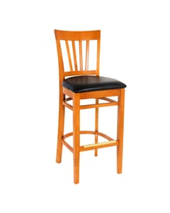 European Beechwood Commercial Bar Stool With Wood Back And Upholstered Seat in Cherry (Front)