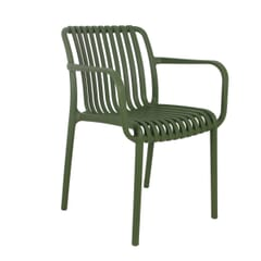 Outdoor Arm Resin Chair with Striped Seat and Back in Green