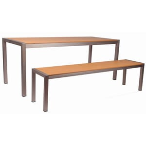 Tan Synthetic Aluminum Restaurant Bench