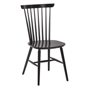Solid Wood Spindle Back Chair in black (front)