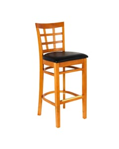 Cherry Wood Lattice Back Restaurant Bar Stool with Upholstered Seat (Front)