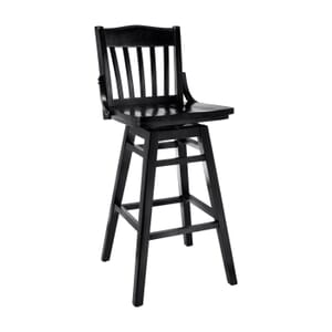 Black Solid Wood Swivel Schoolhouse Bar Stool (Front)