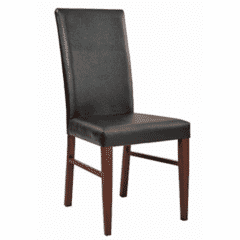 1 Lot of 31 Units - Fully Upholstered Wood Look Metal Restaurant Chair in Mahogany