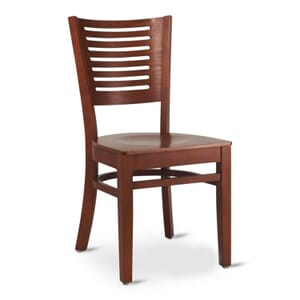 Narrow-Slat Back Commercial Wood Chair with Solid Beechwood Seat in Dark Mahogany (Front)