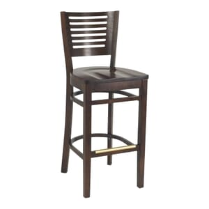 Narrow-Slat Back Commercial Bar Stool with Solid Beechwood Seat in Walnut (Front)