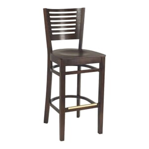 Narrow-Slat Back Commercial Bar Stool with Veneer Seat in Walnut (Front)