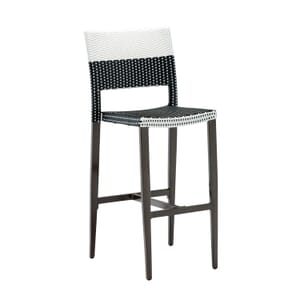 Aluminum Frame Black and White Synthetic Wicker Bar Stool (Side)