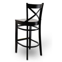 Solid Wood Farmhouse Cross-Back Commercial Bar Stool in Black