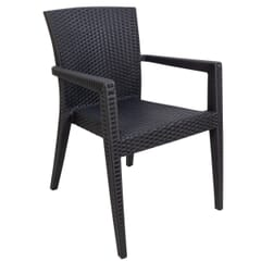 Curved-Back Dark Gray Synthetic Wicker Restaurant Chair with Arms