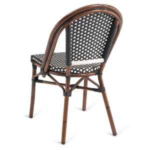 Curved-Back Synthetic Wicker & Bamboo Commercial Outdoor Chair