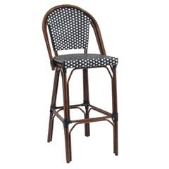 Curved-Back Synthetic Wicker & Bamboo Commercial Outdoor Bar Stool