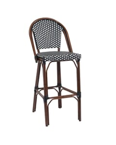 Curved-Back Synthetic Wicker & Bamboo Commercial Outdoor Bar Stool (front)