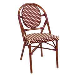 Synthetic Wicker & Bamboo Outdoor Chair with Rounded Back in Mahogany/Burgundy