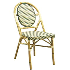 Synthetic Wicker & Bamboo Outdoor Chair with Rounded Back in Natural/Green