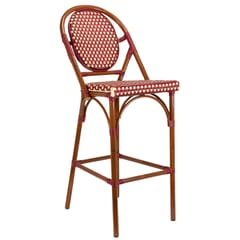 Synthetic Wicker & Bamboo Outdoor Bar Stool with Rounded Back in Mahogany/Burgundy