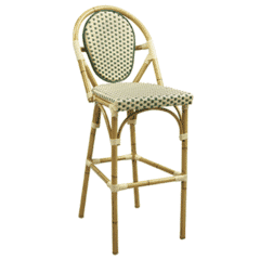 Synthetic Wicker & Bamboo Outdoor Bar Stool with Rounded Back in Natural/Green