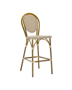 Bamboo-look Aluminum Frame Textilene Mesh Seat and Back Bar Stool (Front)