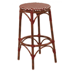 Backless Synthetic Wicker & Bamboo Commercial Outdoor Bar Stool