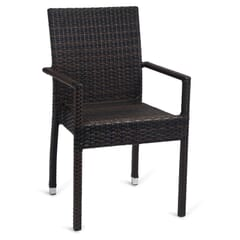 Square-Back Synthetic Wicker Outdoor Restaurant Chair with Arms