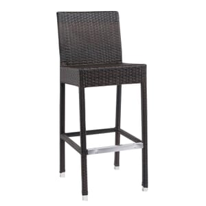 Square-Back Synthetic Wicker Outdoor Restaurant Bar Stool (front)