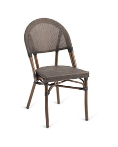 Synthetic Bamboo & Textilene Mesh Commercial Outdoor Chair (Front)