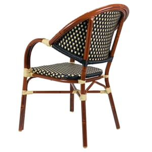 Outdoor Aluminum Bamboo-Look Arm Chair in Brown