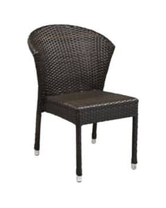 Curved-Back Synthetic Wicker Outdoor Restaurant Chair