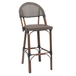 Synthetic Bamboo Aluminum & Mesh Commercial Outdoor Bar Stool (front)