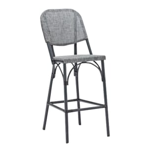 Powder Coated Charcoal Aluminum Frame Textilene Gray Mesh Seat and Back Bar Stool (side)