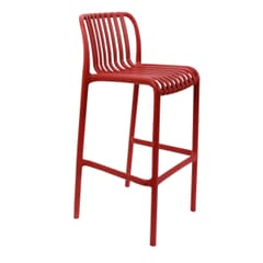 Outdoor Resin Bar Stool with Striped Seat and Back in Red