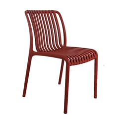Outdoor Resin Chair with Striped Seat and Back in Red