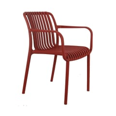 Outdoor Arm Resin Chair with Striped Seat and Back in Red