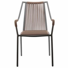 Stackable Black Aluminum Tan Rope Styled Outdoor Chair with Arms