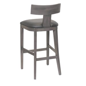 Storm Grey T-Back Bar Stool With Upholstered Seat