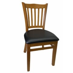 Lot of 21 or 35 - Cherry Solid Wood Vertical Back Restaurant Chair With Upholstered Seat
