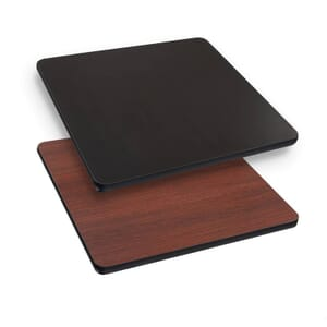 "Square Laminate Commercial Drop Leaf Table Top in Mahogany (36"" x 36"" to 51"" Round)"