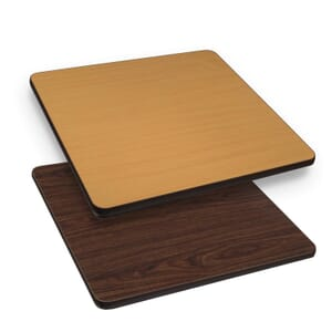 "Square Laminate Commercial Drop Leaf Table Top in Walnut (36""x 36"" to 51"" Round)"