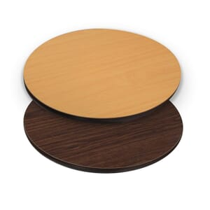 Reversible Laminate Commercial Table Top in Walnut/Oak with Brown T-Mold