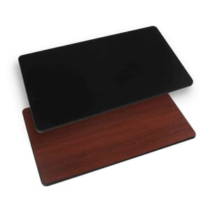 Rectangular Reversible Round Laminate Commercial Table Top in Mahogany/Black with Black T-Mold