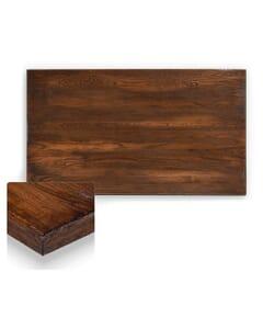 Reclaimed Elm Wood Rectangular Dining Table Top In Dark Walnut