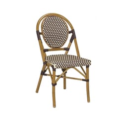 Synthetic Wicker & Bamboo Outdoor Chair with Rounded Back in Walnut/Brown
