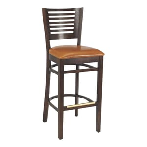 Narrow-Slat Back Commercial Bar Stool with Upholstered Seat in Walnut (Front)