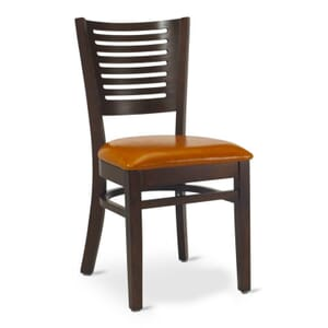 Narrow-Slat Back Commercial Wood Chair with Upholstered Seat in Walnut (Front)
