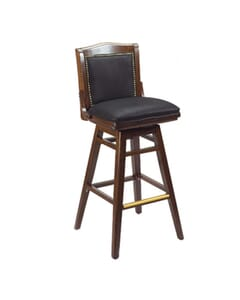Fully Upholstered Solid Wood Swivel Schoolhouse Bar Stool in Walnut