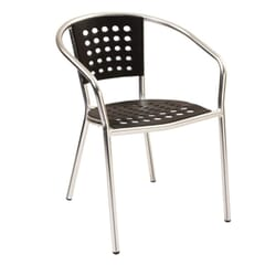 Stackable Aluminum Patio Arm Chair with Black Polypropylene Seat and Back