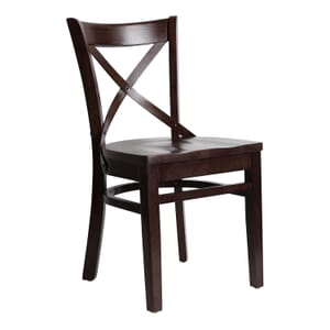 Walnut Wood Farmhouse Cross-Back Commercial Chair with Solid Wood Seat (Front)