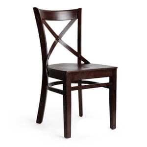 Walnut Wood Farmhouse Cross-Back Commercial Chair with Veneer Seat (Front)
